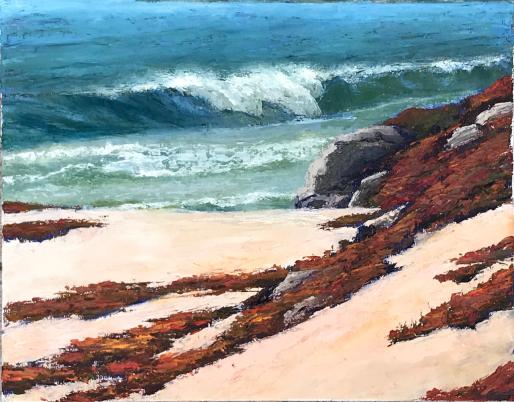 Oil painting iceplant california coast waves palette knife