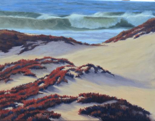 Oil painting iceplant california coast waves