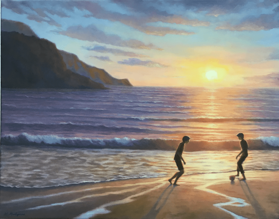 Oil painting two boys playing soccer in the light of the setting sun over the ocean