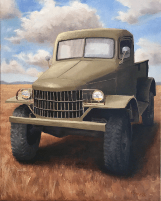 Old Dodge WC truck on golden field