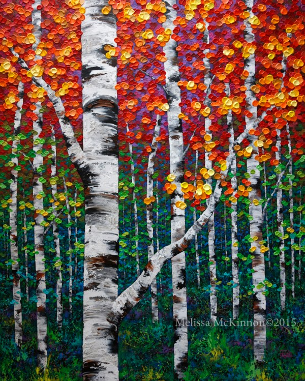 Colourful Autumn Fall Birch And Aspen Tree Painting Contemporary Canadian Abstract Landscape