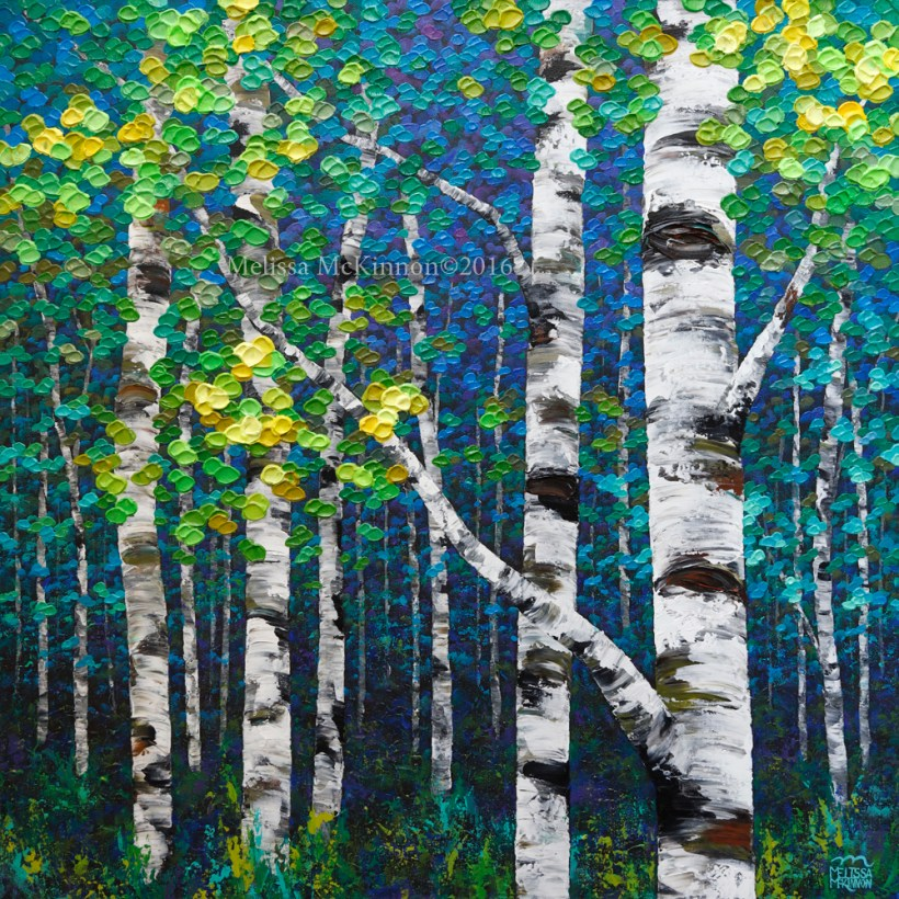 Painting Colourful Spring Forest Birch And Aspen Tree Contemporary Abstract