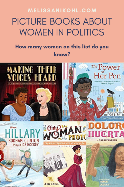 Check out these picture books about women in politics! This list contains some new 2020 picture books along with older ones. Women have always played a role in politics and now you can read all about them. This book collection would make a good addition to your diverse picture book collection in your classroom library. These books would be also great pictures books for Women's History Month. #diversepicturebooks #womenshistorymonth