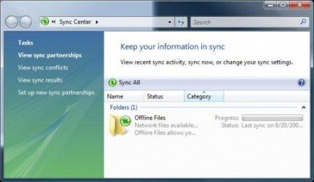 Windows Vista Sync Center