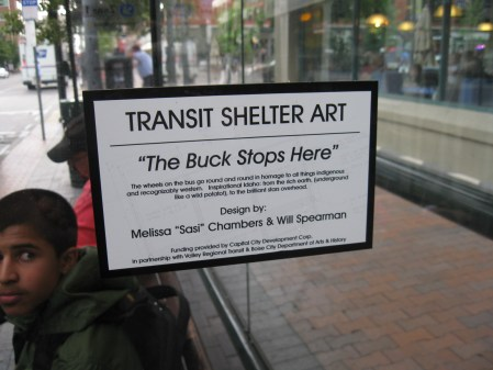 "©2013 Melissa ""Sasi"" Chambers and Will Spearman - ""The Buck Stops Here"" - bus shelter in Boise, Idaho"