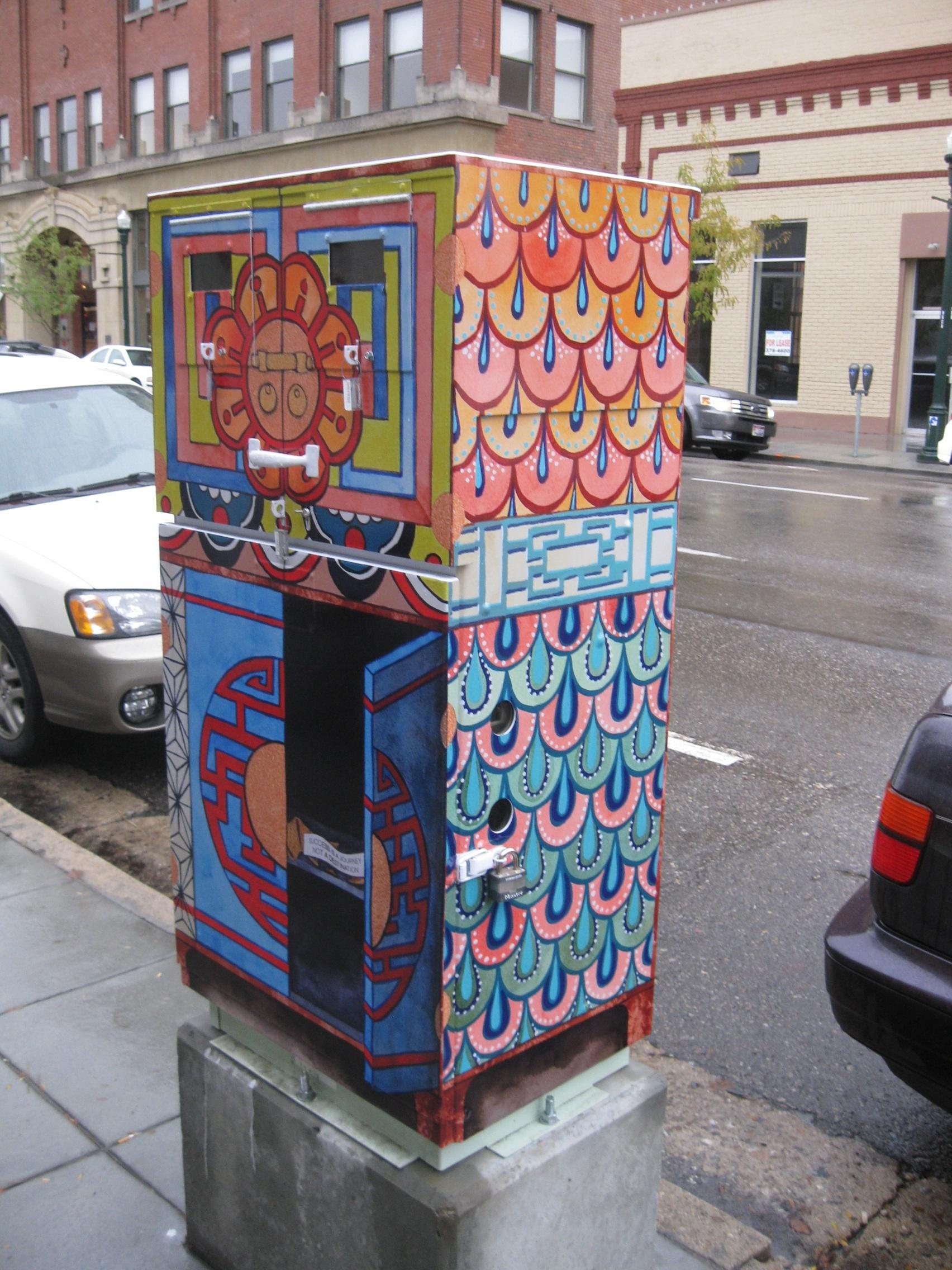 "©2013 Melissa ""Sasi"" Chambers ""Good Luck Sweet Cookie"" - traffic control box in Boise, Idaho"