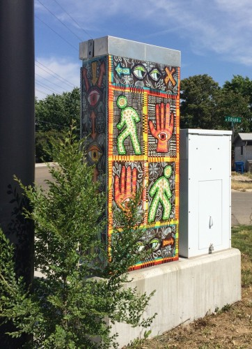 """Walk, Don't Walk"" traffic box back view"