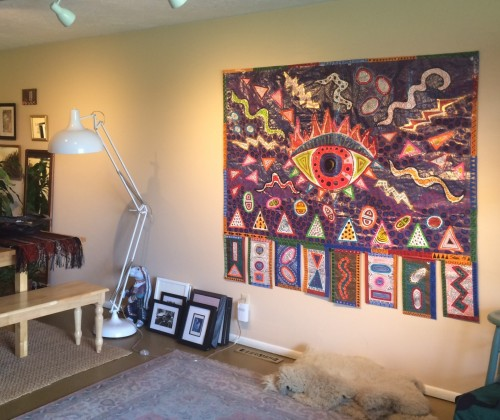 Third Eye Tarpestry in my studio