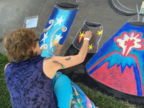 Sasi making chalk art on 7/4/15