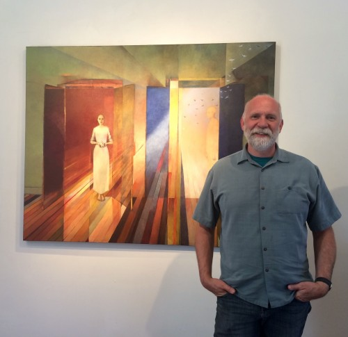 "Michael Chambers with his painting ""All the Light """