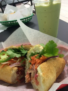 Mr. Bubbles Bahn mi and avocado bubble smoothie