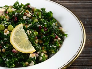 Kale and Farro Salad with Feta and Cranberries