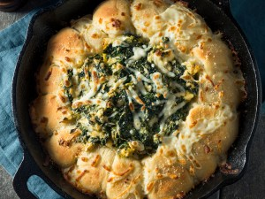 Homemade Skillet Bread with Artichoke Dip