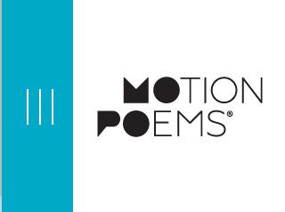 Image of Motionpoems logo, aqua blue, black, and white