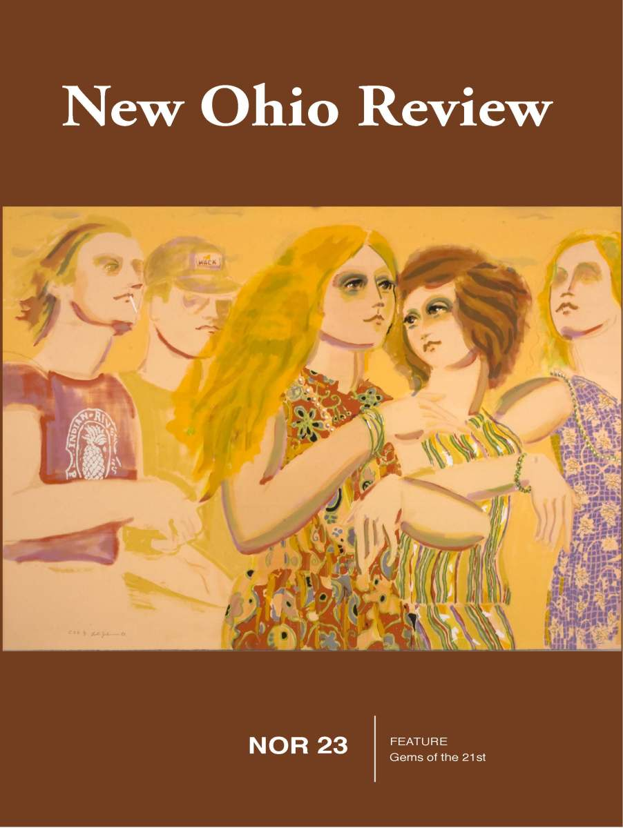 Image of people at a party, cover of New Ohio Review, Brown and Yellow