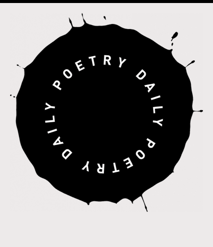Poetry Daily Seal, Big Black Circle with Running edges that look like paint dripping