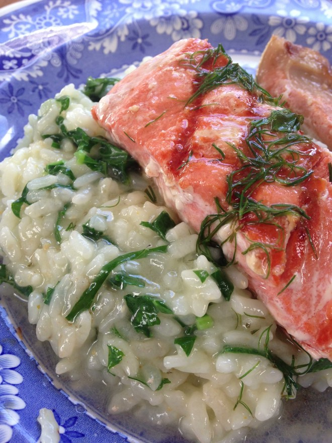 Grilled Salmon and Kale Risotto