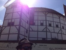 The rebuilt Globe theatre, made to look as authentic as possible. Thus the giant hole in the roof.