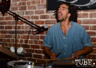 Drummer Yoel Bibas of Paisano playing at the Hideaway for The Wall art show presented by TUBE. Sacramento, CA. Photo Alejandro Montaño.