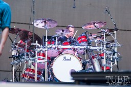 Chad Sexton, drummer for 311, encased in his massive Pearl kit on stage at Thunder Valley, Sacramento CA. 2015 Photo Ascensive