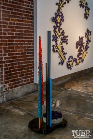 """A tall free standing sculpture in front of A to Z"""". Musical Chairs by Robert Ortbal at Beatnik Studios. Photo Sarah Elliott. 2015"""