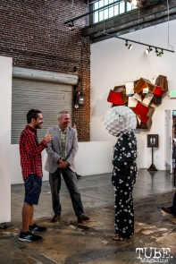 James Angello and Robert Ortbal standing with one of the performers at the Musical Chairs reception at Beatnik Studios. Photo Sarah Elliott. 2015