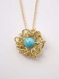 Robin's Egg Bird's Nest Necklace by Sarah Perez.