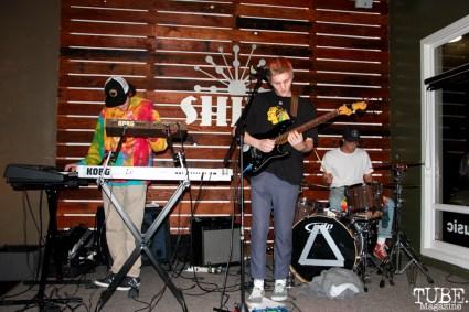 Spencer Rakela guitarist/singer, Clayton LaFlamme keyboardist and Geoffery Luoma drummer of Animals in the Attic, Shine Cafe, Sacramento, CA.March 11,2016. Photo Anouk Nexus