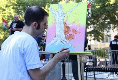 Artist live painting, Jared Konopitski, Concerts in the Park, Cesar Chavez Park, Sacramento, CA. June 24, 2016. Photo Anouk Nexus
