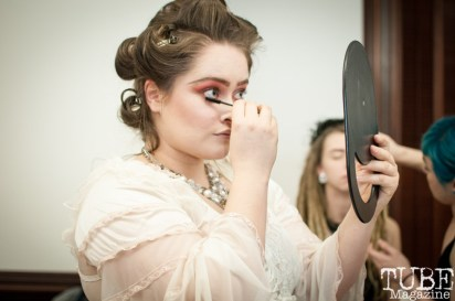 Model backstage preparing for the runway, Vintage Swank Artmix, Crocker Art Museum, in Sacramento CA. March 2017. Photo Heather Uroff.