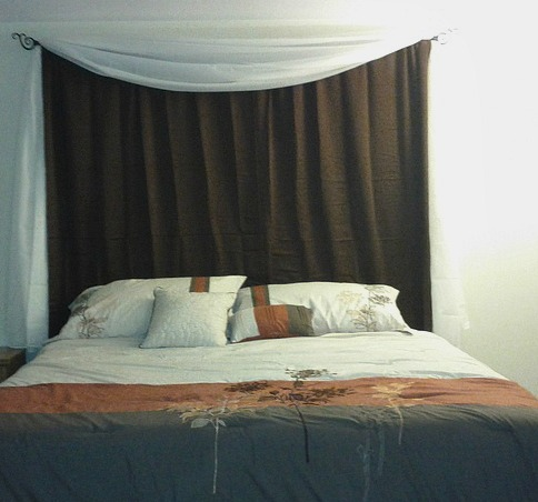 my diy curtain headboard