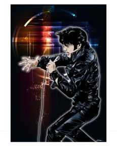 C'mon. You know you want to rock out with Elvis. Art by rawclips.