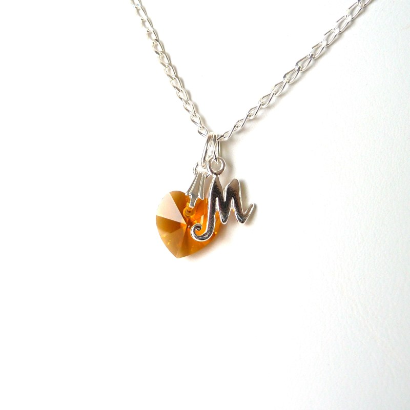 november birthstone necklace topaz birthstone initial charm necklace