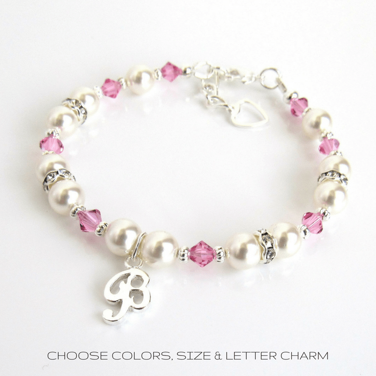 Birthstone Initial Charm Bracelet for Little Girls