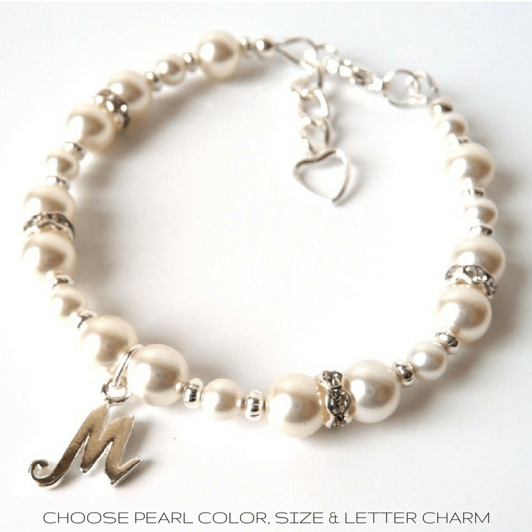 PERSONALIZED PEARL AND SILVER GIRLS BRACELET