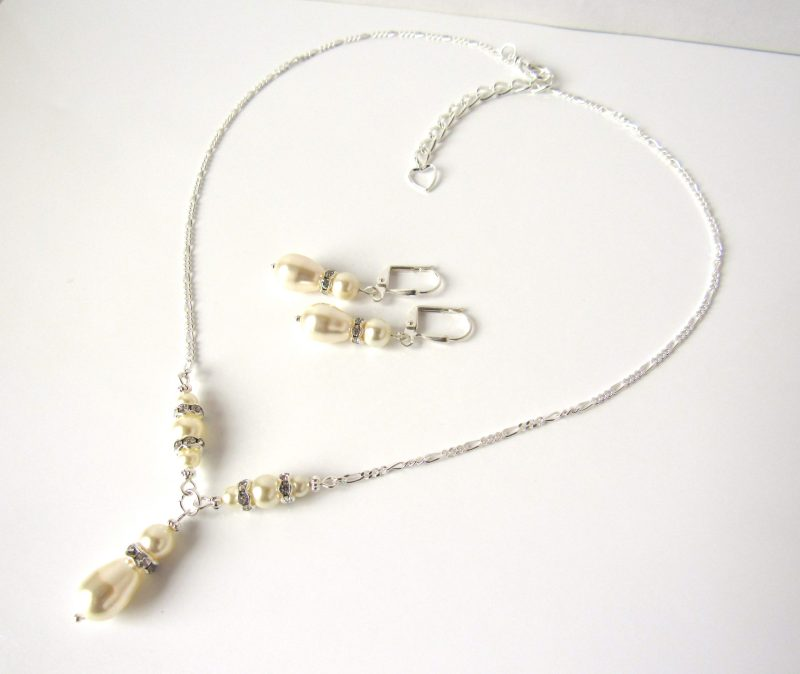 pearl wedding jewelry set y shaped necklace