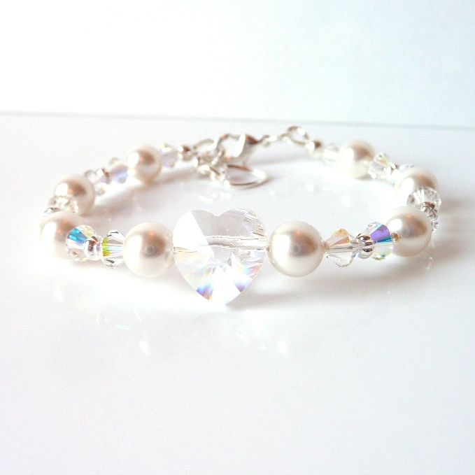 pearl and crystal bracelet with silver accents