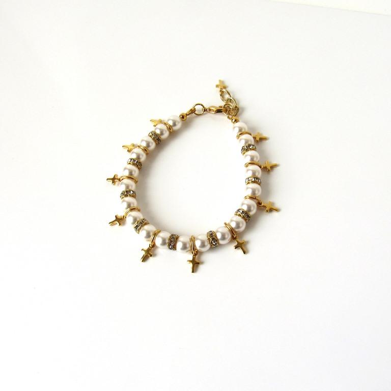 cross charm bracelet gold