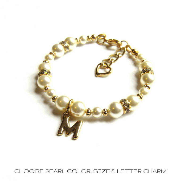 PEARL AND GOLD GIRLS BRACELET PERSONALIZED