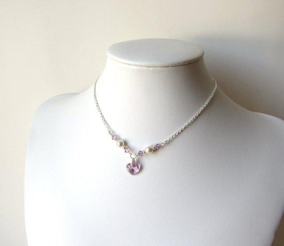 GN1 Girls Heart Necklace light amethyst