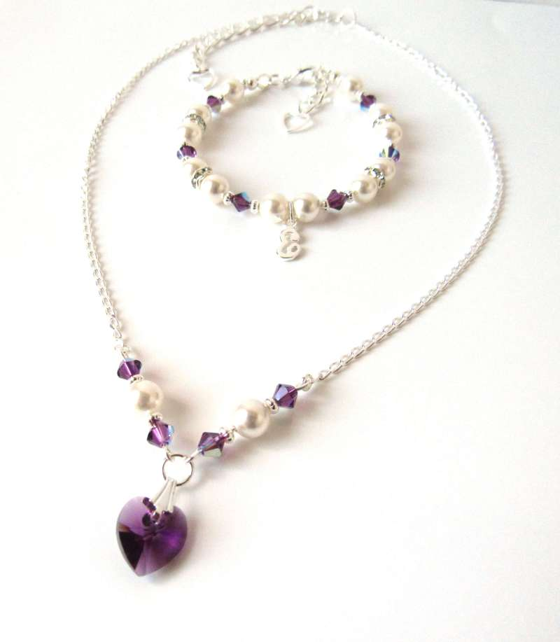 amethyst jewelry set for girls