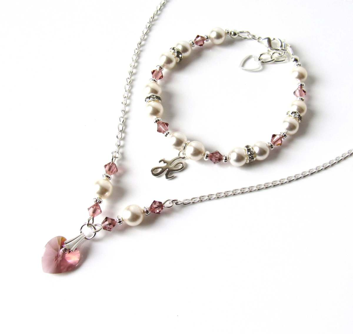 Girls Crystal  U0026 Pearl Necklace  U0026 Bracelet Set  U2013 Blush Pink