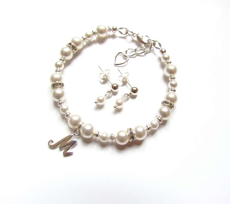 flower girl bracelet and earring set pearl personalized