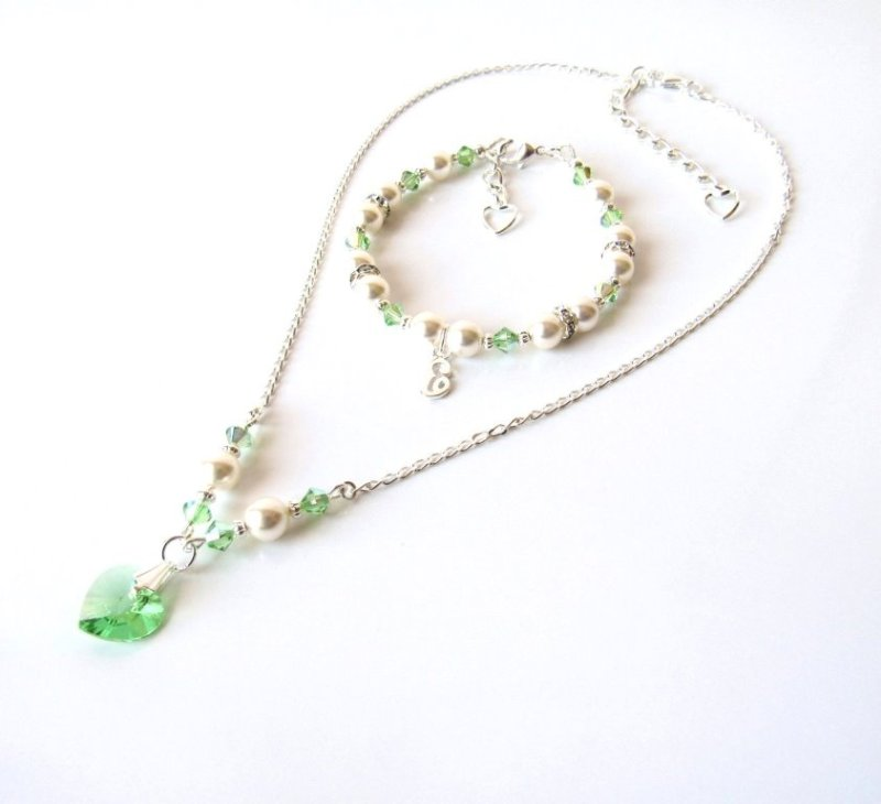 GS13-Girls Crystal & Pearl Necklace & Bracelet Set – Peridot Green