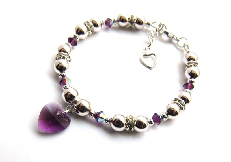 -crystal heart birthstone bracelet silver