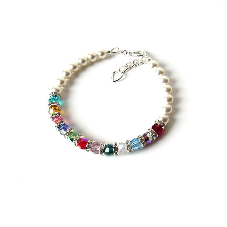 PB8 mothers birthstone bracelet with pearls