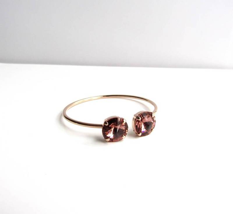 WB12-rose gold and blush pink pinch cuff bracelet