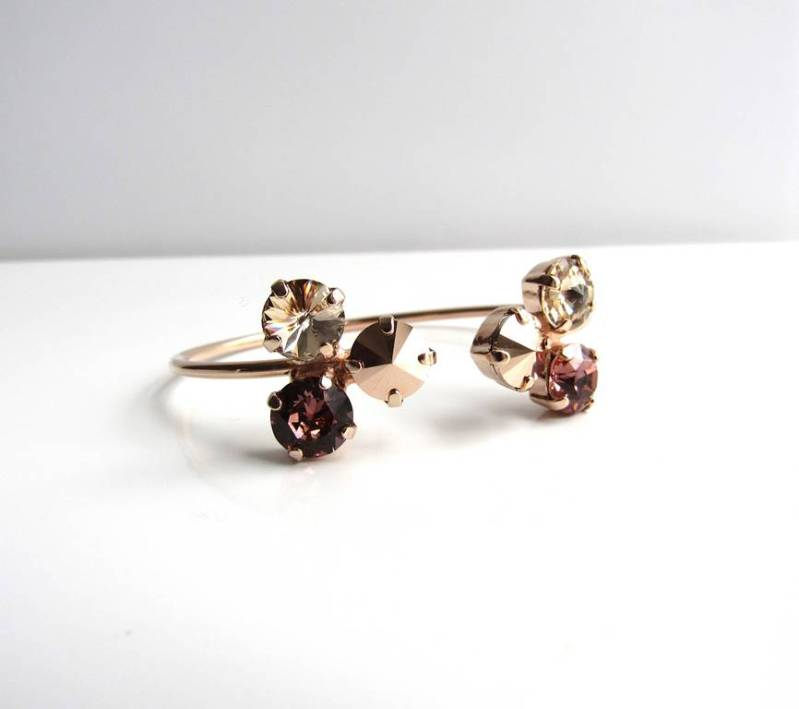 -rose gold flower pinch cuff bracelet