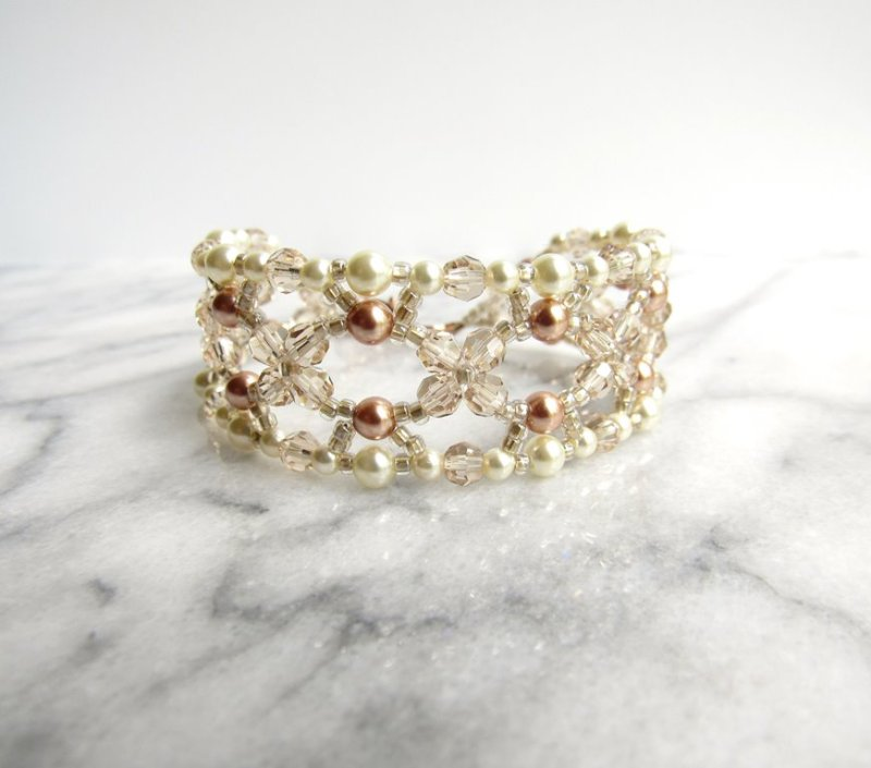 WB15-rose gold champagne and ivory pearl beaded bracelet