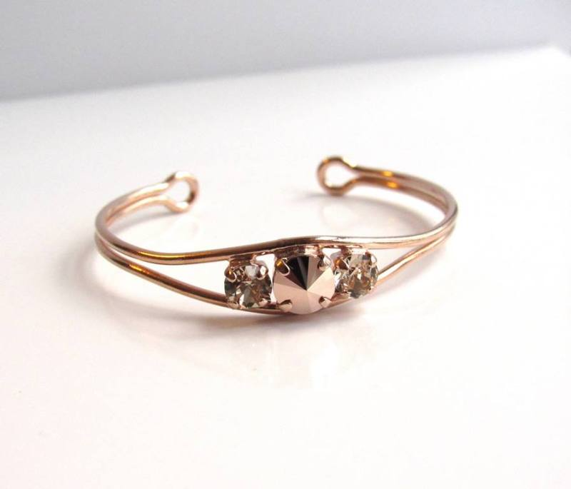WB18-rose gold open bangle bracelet with swarovski csrystals